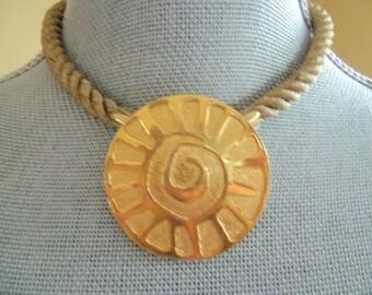 Vintage GABRIEL--Modernist Set--Necklace or Brooch and Earrings--Golden Cord--Sunburst--Signed