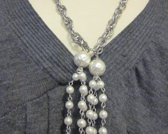 Vintage Silver Tone & Faux Pearl Necklace