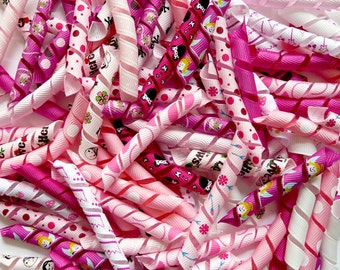 100 Korker Pieces - PINK ASSORTMENT - Precut, Ends Heat Sealed, Ready to Use - 3/8 Grosgrain Ribbons