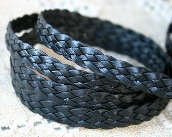 1 Meter 10mm Flat Braided Leather Cord Black 5 Strands