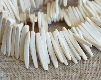 White Sticks Wood Beads Top-Drilled Stick 25x4mm 16 Inches Coconut Palm