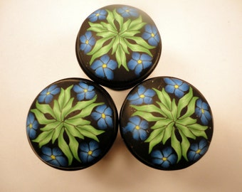 Cabinet Knobs/Pulls  10 Decorative Polymer Clay over metal High Quality  Unique bathroom knobs  Dresser furniture knobs Blue Green Yellow