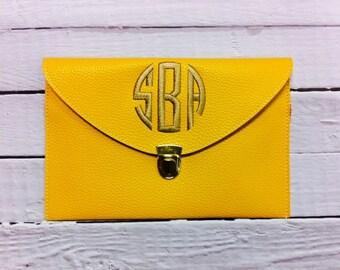 Yellow Monogrammed Clutch Purse Bride Maid Of Honor Bridesmaid Gift Crossbody Bag Purse Envelope