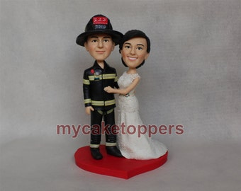 firemen wedding Cake toppers, firefighter custom cake toppers, custom wedding cake topper, customzied cake toppers