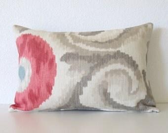 Tania Misty Rose 12x18 suzani ikat decorative pillow cover