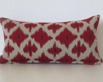 Ikat red beige 8x16 mini lumbar pillow cover