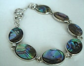 "Vintage Abalone/Paua Shell Silver Bracelet - Early 90s Bacelet - Shabby Chic - Oval Beads - Toggle Bar Closure - 9 "" -"