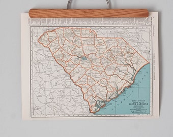 1930s Antique State Maps of South Carolina and Rhode Island