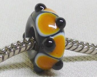 Handmade Large Hole Lampwork Bead - Fits European Charm Bracelets Pittsburgh Black and Gold