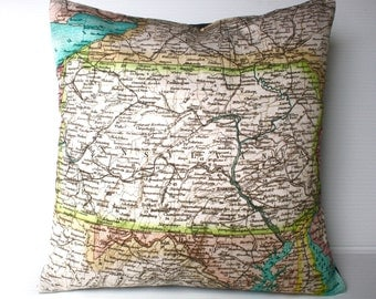 Pillow cover throw cushion cushion cover PENNSYLVANIA map cushion cover, organic cotton, pillow 16x16