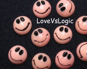 6 Smiley Face Lucite Cabochon. Pale Pink Tone.