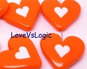 4 Huge Acrylic Puff Heart Bead. Dark Orange with White Heart