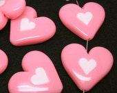 4 Huge Acrylic Puff Heart Bead. Dark Pink with White Heart