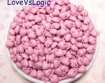 80 Petite Heart Acrylic Charms. Dark Pink