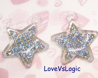 2 Huge Glitter Puff Star Pendant. Abstract Silver Tone