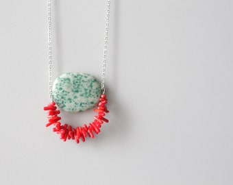 red geometric necklace
