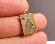 12 Ace of Spade Charms - 12 pcs antique brass bronze playing card ace of spade charms-  BAZ83