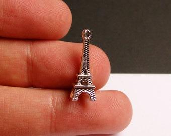 10 Eiffel tower charms - 3D - 24mm -   hypoallergenic - 10 pcs -   ASA32