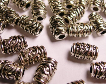 25 tube silver beads - 25 pcs engraved antique silver beads -  ASA70