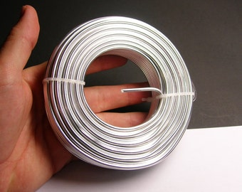 Aluminum wire 9 gauge - 3mm -  78 foot rool - good quality - silver - anodized wire - 24 meters