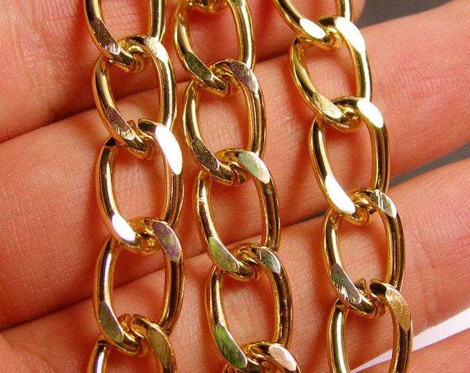 Gold chain - gold curb chain - 1 meter - 3.3 feet - aluminum chain - NTAC68