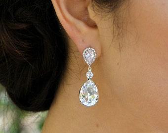 Bridal crystal earrings Wedding Crystal earrings cubic zirconia Wedding Bridal jewelry Swarovski Crystal chandelier Bridal Earrings ARIA