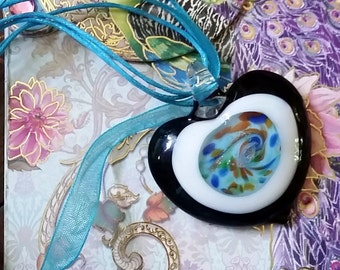 50 Shades of Blue, Large Heart Glass Pendant, Glass Lampwork Heart Pendant and Blue Ribbon/Cord Necklace