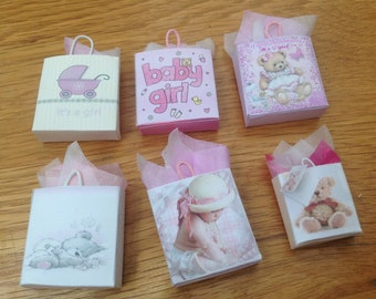 Dolls House Miniatures -  baby girl  Gift Bags