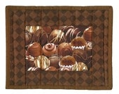 Box of Chocolates Mug Rug, handmade candy quilted snack mat table coaster mini-quilt