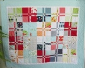 SALE Modern Baby Girl Quilt in Happy Go Lucky, Baby Girl Crib Quilt by Dreamy Vintage Sheets