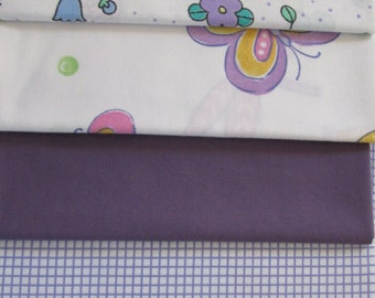 Vintage Sheet Fabric, Reclaimed Bed Linen Fabrics, Fat Quarter Bundle Lavenders (5 Pack)