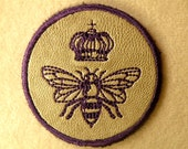 Queen Bee Mini on Cowhide Leather Iron on Patch
