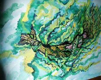 Kate Perrin  (Mermaid Hiding) Unique Original Art
