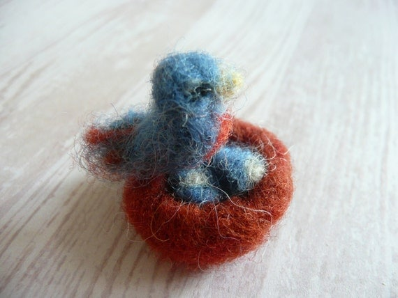 Tiny Wool-Felted Mama Robin and her Nest