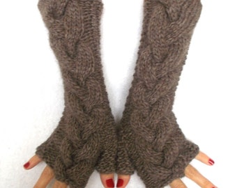 Fingerless Gloves Knit  Brown Cabled Wrist Warmers, Extra Chunky and Warm