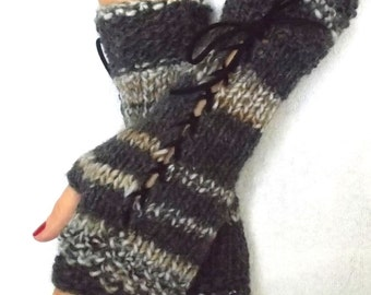 Fingerless Gloves Corset Wrist Warmers in Charcoal Grey Brown Suede Ribbons Victorian Style
