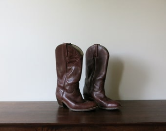 Vintage Frye Boots Mens Womens Burgundy Western Boots