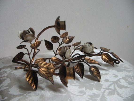 Vintage Italian Style Tole Flowers Metal Candle Holder Wall