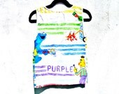 Original by Repose Tank Top Made out of Vintage 80's Sesame Street Cartoon Bed Sheets Women's Extra Small
