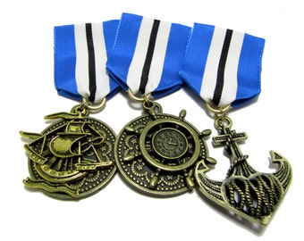 Steampunk Cosplay Medal // Custom DOUBLE CHARM Medallion // Blue White Black Ribbon