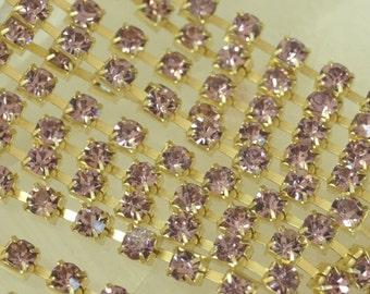 Vintage Swarovski Violet Purple Rhinestone Crystal 3mm Chain (1 Foot)
