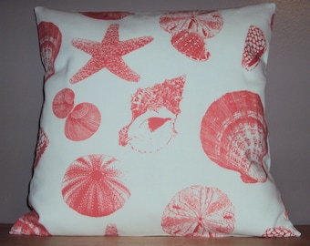 Coral Sea Shell Print Beach Theme Pillow Cover - Available In 3 Sizes