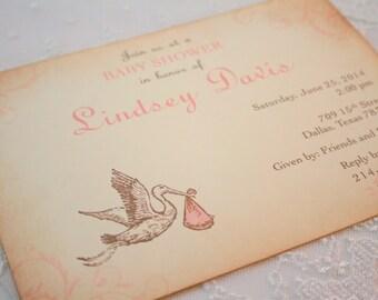 Girl Stork Invitations Baby Shower Invite Pink Swirls Vintage Style Set of 10