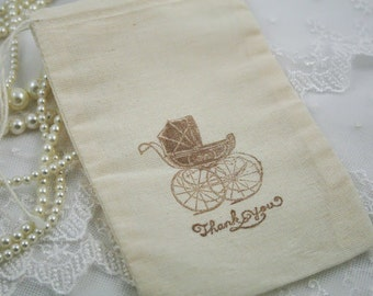 Carriage Bags Muslin Thank You Bags Baby Shower Pram Set of 10