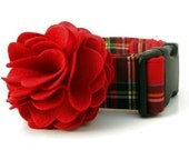 Red Tartan Dog Collar with Red Flower Accessory - 1.5 Inch Wide - Scottie Plaid