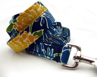 Floral Dog Leash in Blue and Yellow - 6 Foot Length
