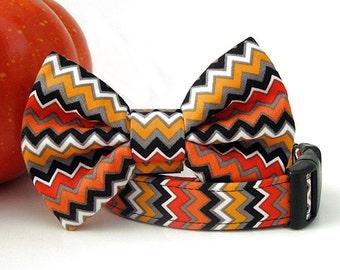Halloween Zig Zag Bow Tie Dog Collar - Orange Black Gold White
