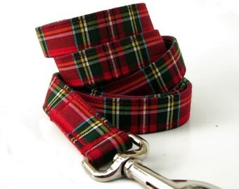 Red Tartan Dog Leash - Scottie Plaid