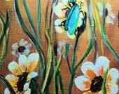 Acrylic Flower Painting 10x14 Original Art Daisies and Blue Bug Wall Decor