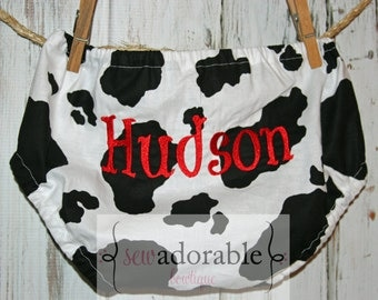 Monogrammed Cow Print Diaper Cover - Great for SMASH CAKE SESSIONS